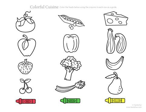 Printable Toddler Activity: Colorful Cuisine (Printable ...
