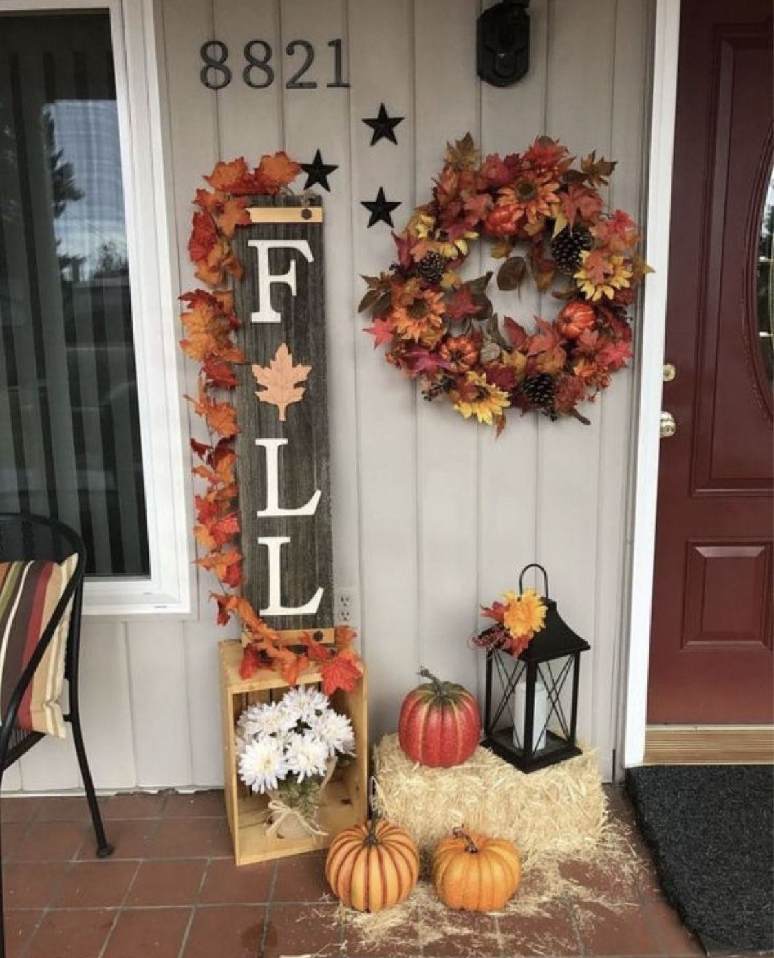 24 Fall Leaves Wreath Fall Decorations Porch Front Porch Decorating Fall Front Porch Decor