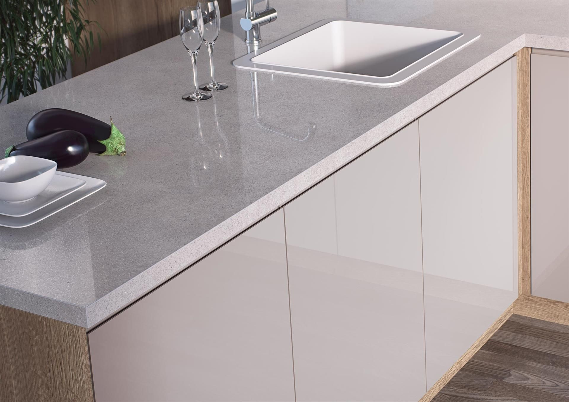 Cosmic White With its highly realistic quartz effect and