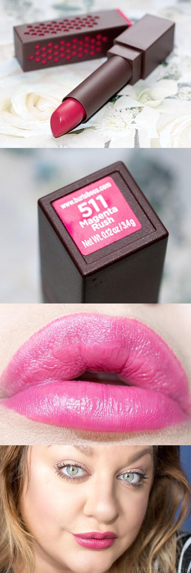 """Drugstore Beauty Burt's Bees Lipstick in """"Magenta Rush"""