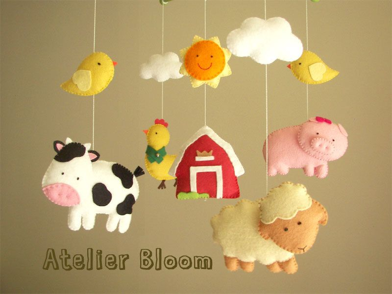 """Baby crib mobile, safari mobile, animal mobile  """"Barnyard"""" - Lamb, Pig, Hen, Cow, chicks. $85.00, via Etsy."""