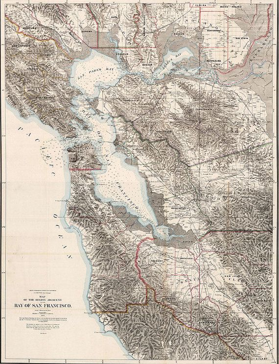 Map of San Francisco Bay 1873 Vintage SF Bay Map in 5 sizes up to