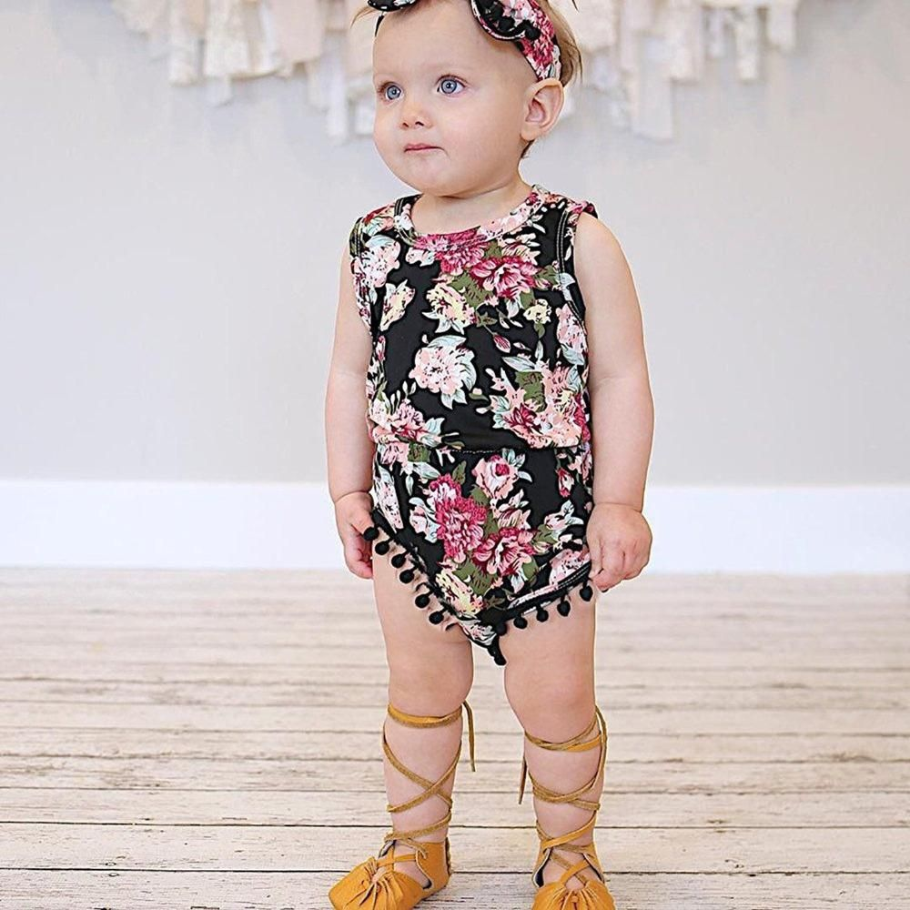 Baby Girl Summer Sleeveless Rompers Rose Flower Print Fashion Jumpsuit Kids Gift