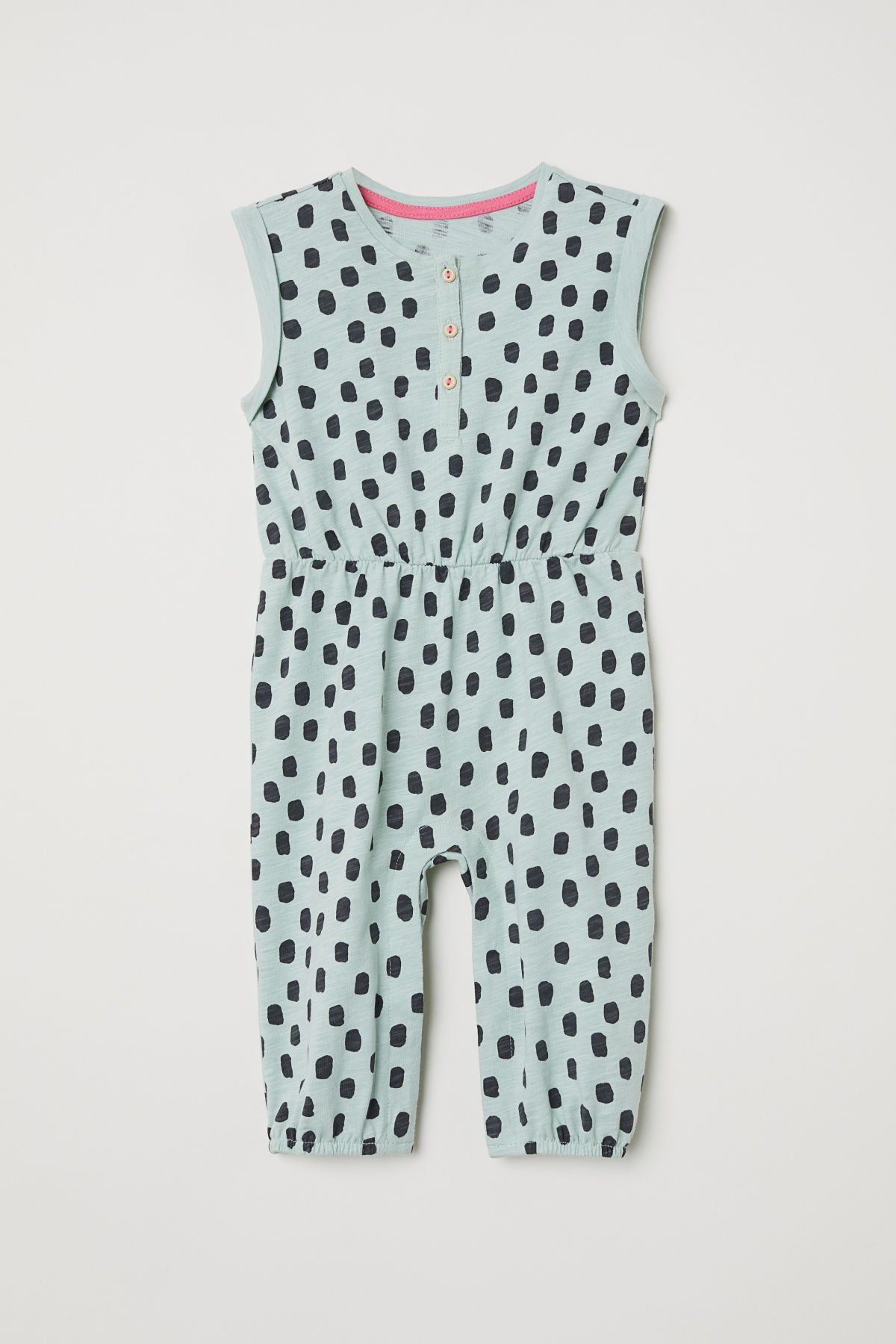 3f89d477b8 Dusky green patterned. Jumpsuit in cotton slub jersey with a printed pattern.  Buttons at top