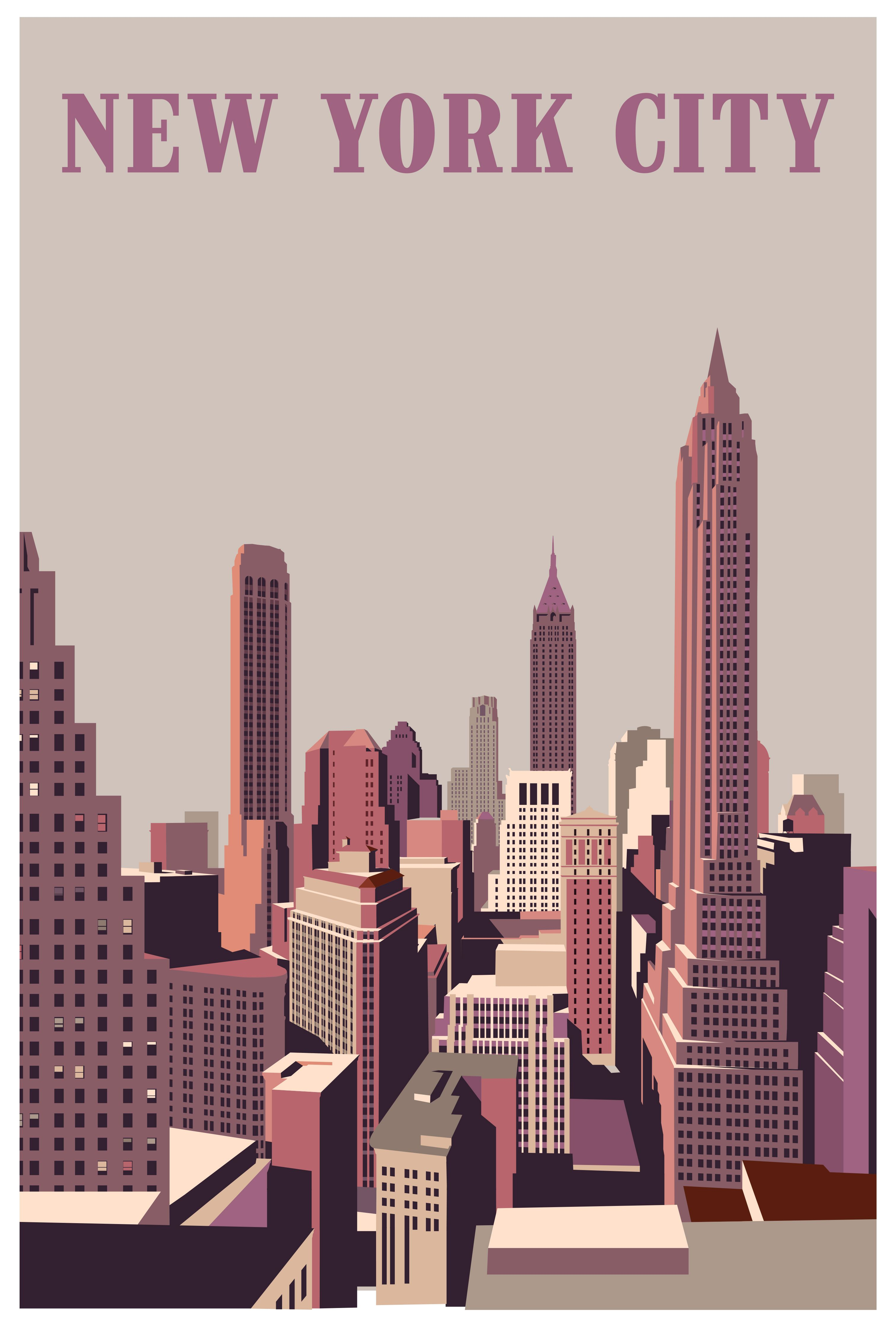2019 Contemporary Travel Poster Pascal Blanchet New York City Travel Posters New York City Poster