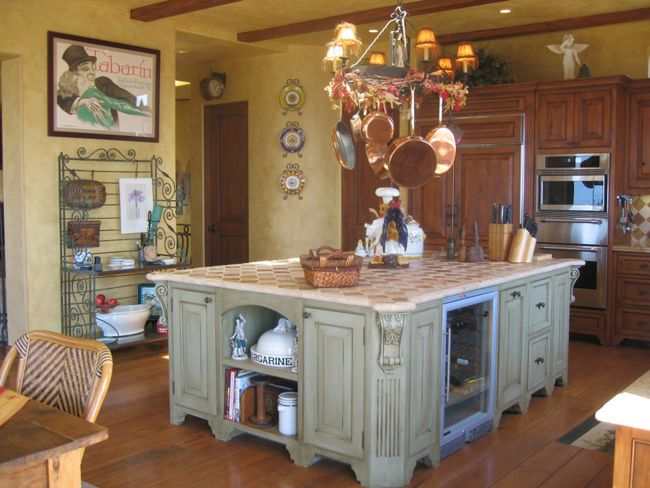 cocina rustica francesa con isla   Cocinas Rústicas   Pinterest ...
