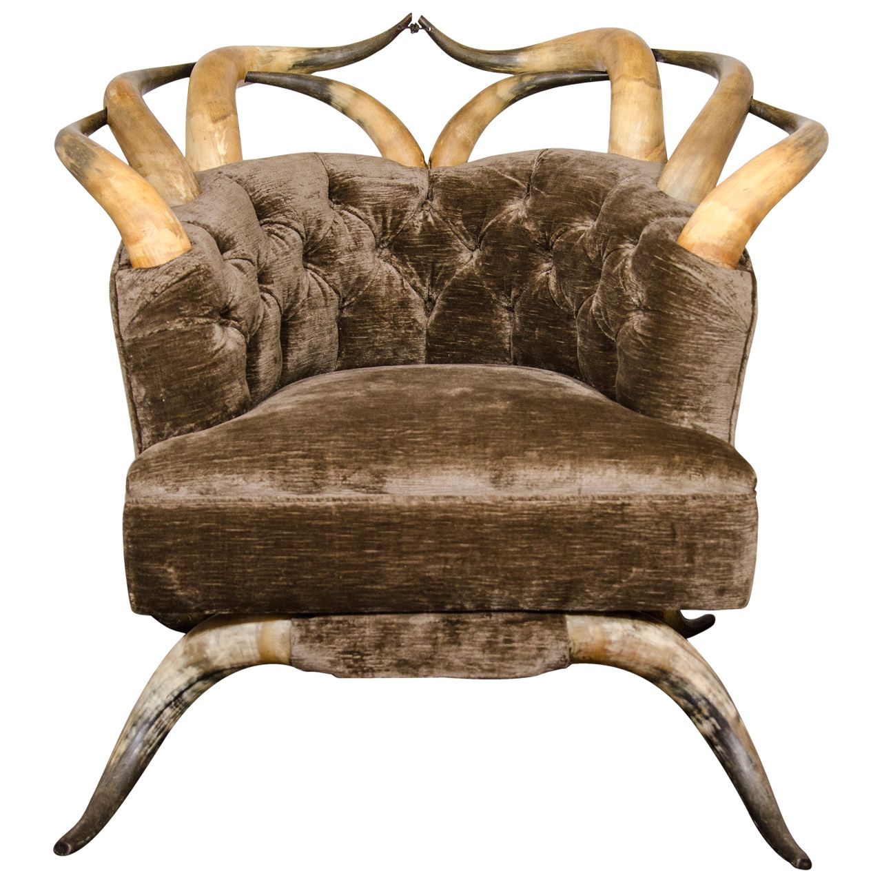 Rare Victorian Long Horn and Steer Horn Tufted Club Chair ...
