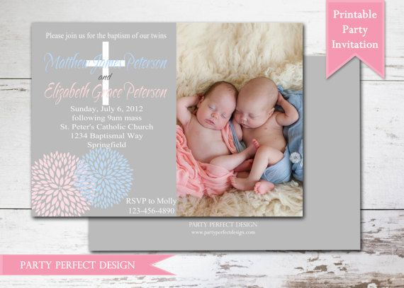 pink blue and gray blooms twins baptism invitation first communion