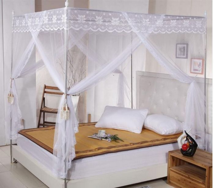 999b9faa5b51e Lace 4 Corners Bed Canopy Mosquito Net Twin-Xl Full Queen Cal King All Sizes.  White Lace 4 Corners Post ...