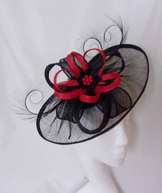 Cecily Saucer Hat - Black With Red Or Burgundy