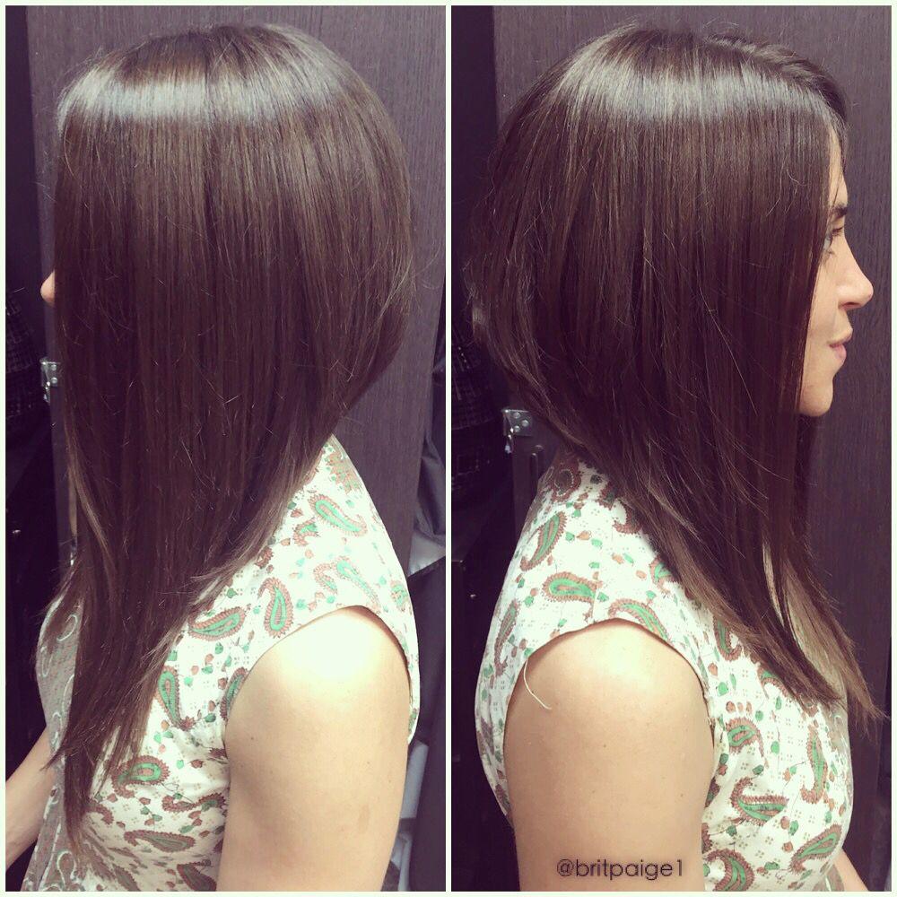 long a-line bob. dramatic asymmetrical cut. #britpaige