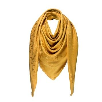 bf5bb5274 Louis Vuitton LOUIS VUITTON MONOGRAM GOLDEN SHAWL SAFRAN SCARF ...
