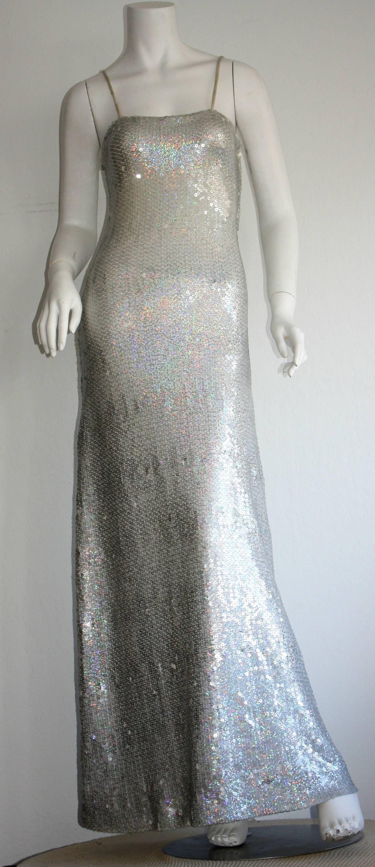 Vintage Halston 1970s Iridescent Sequin Mermaid Gown | Mermaid gown ...