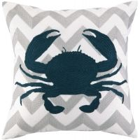 Embroidered Navy Crab on Grey Chevron Pillow