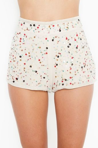I kind of love these confetti shorts --- only problem is the model is so skinny I can't really tell if this is the front or the back view