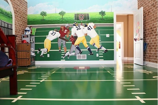 green and white painted playroom football field floor