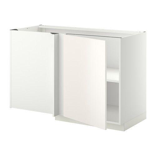 METOD Mobile base angolare con ripiano, bianco, Veddinge bianco ...