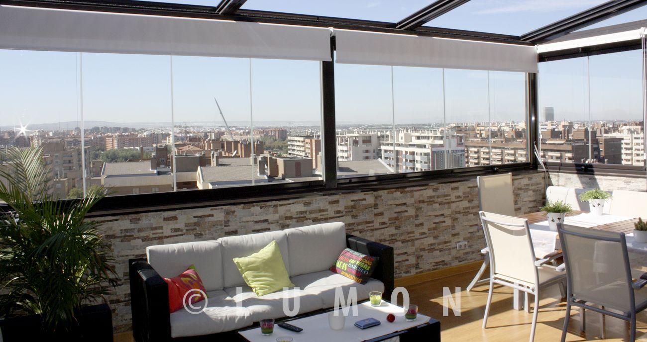 Acristalamientos media altura barandilla techo lumon for Cortina cristal terraza