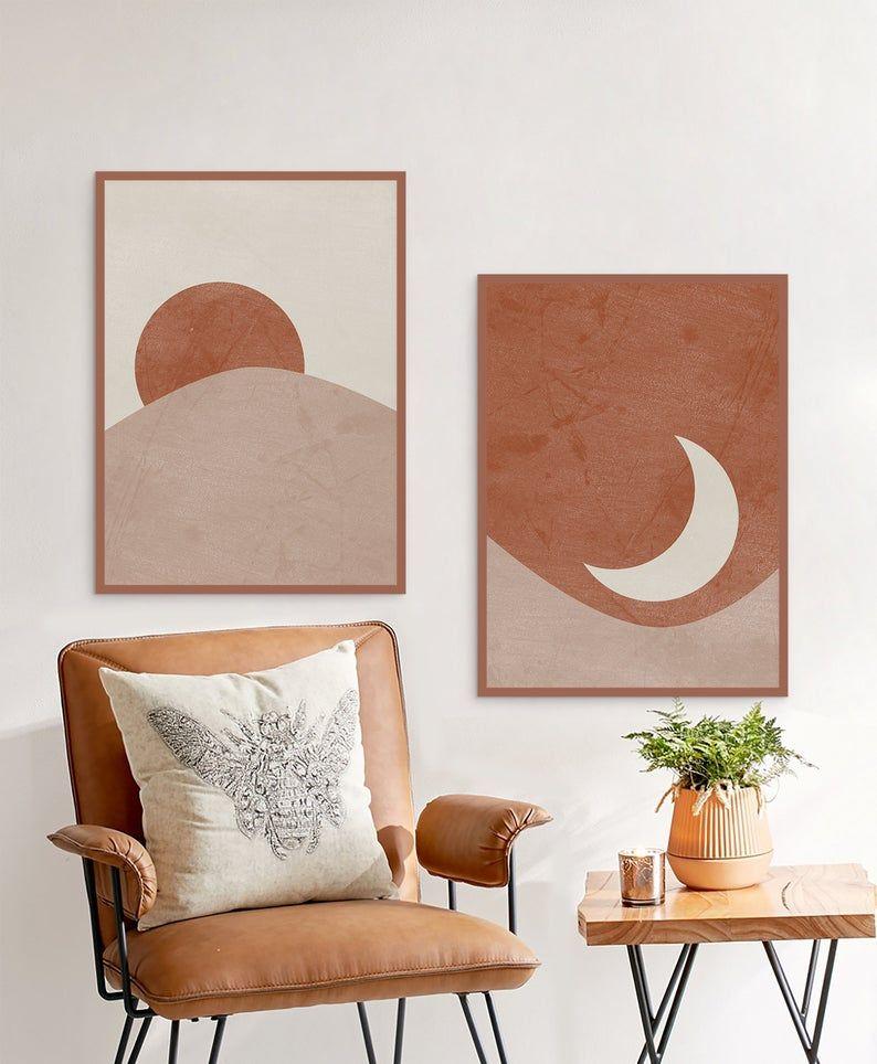 Sun And Moon Print Set Of 2 Abstract Landscape Terracotta Printable Mid Century Modern Minimal Wall Art Digital Download Boho Prints Minimal Wall Art Decor Home Decor
