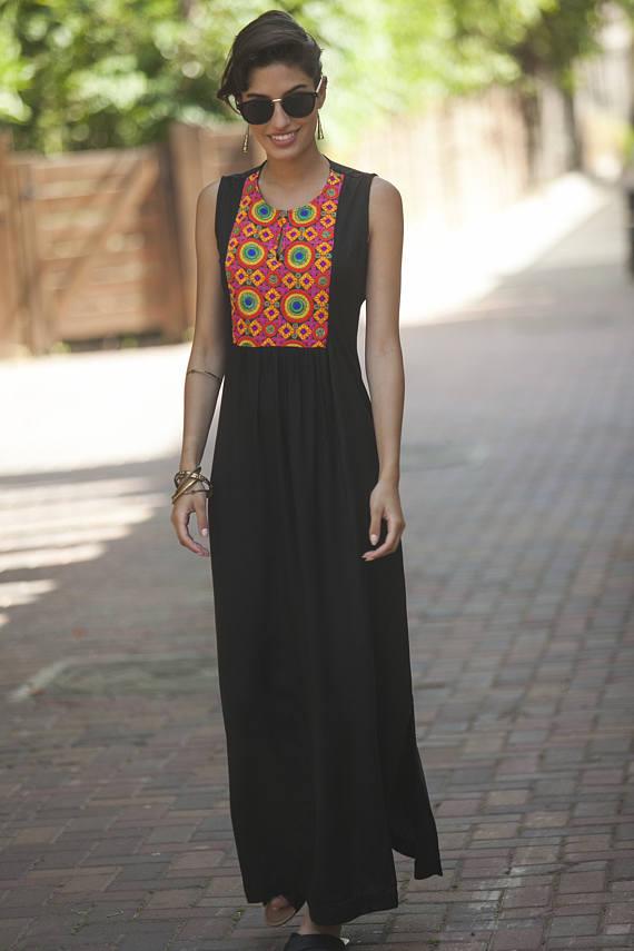 Bohemian KaftanEthnic Maxi DressTribal Women's Summer Black Long k8wO0nXPNZ
