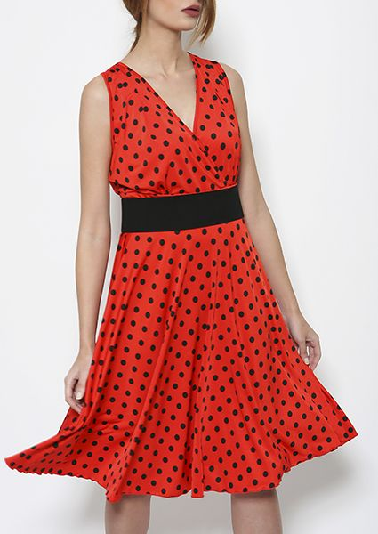 Dress type MARILYN jersey polka dots on red-black color a black belt in the middle