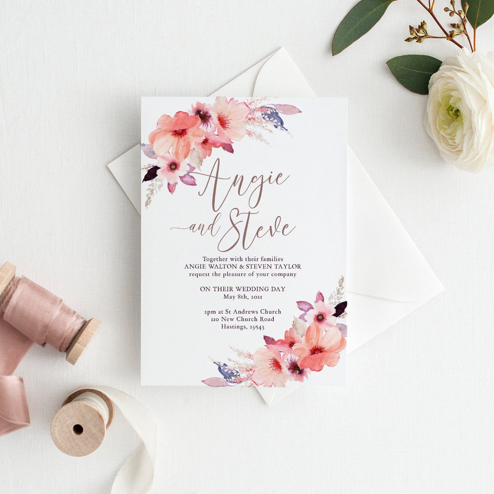 Floral Wedding Invitation Template Printable Invitation With Etsy Wedding Invitation Templates Floral Wedding Invitations Wedding Invitations