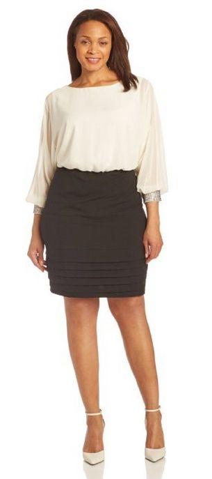 AGB Women's Plus-Size Jewel Cuff Blouson Dress