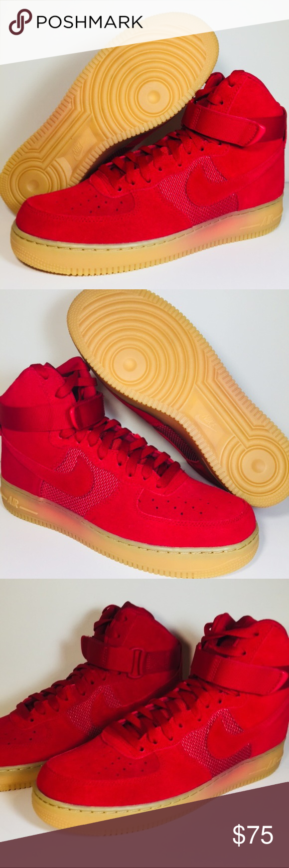 2128198a7e028 ... coupon code for nike air force 1 one high lv8 gym force rød gum textile  nike