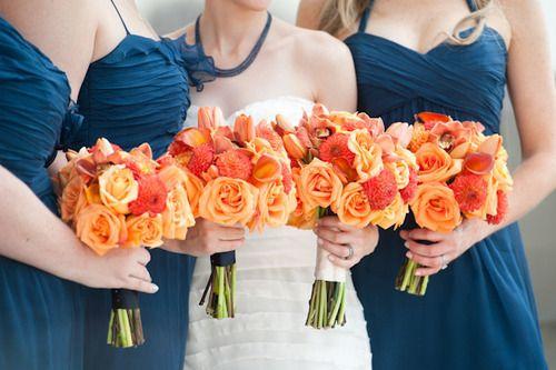 Orange #Bouquets #weddings