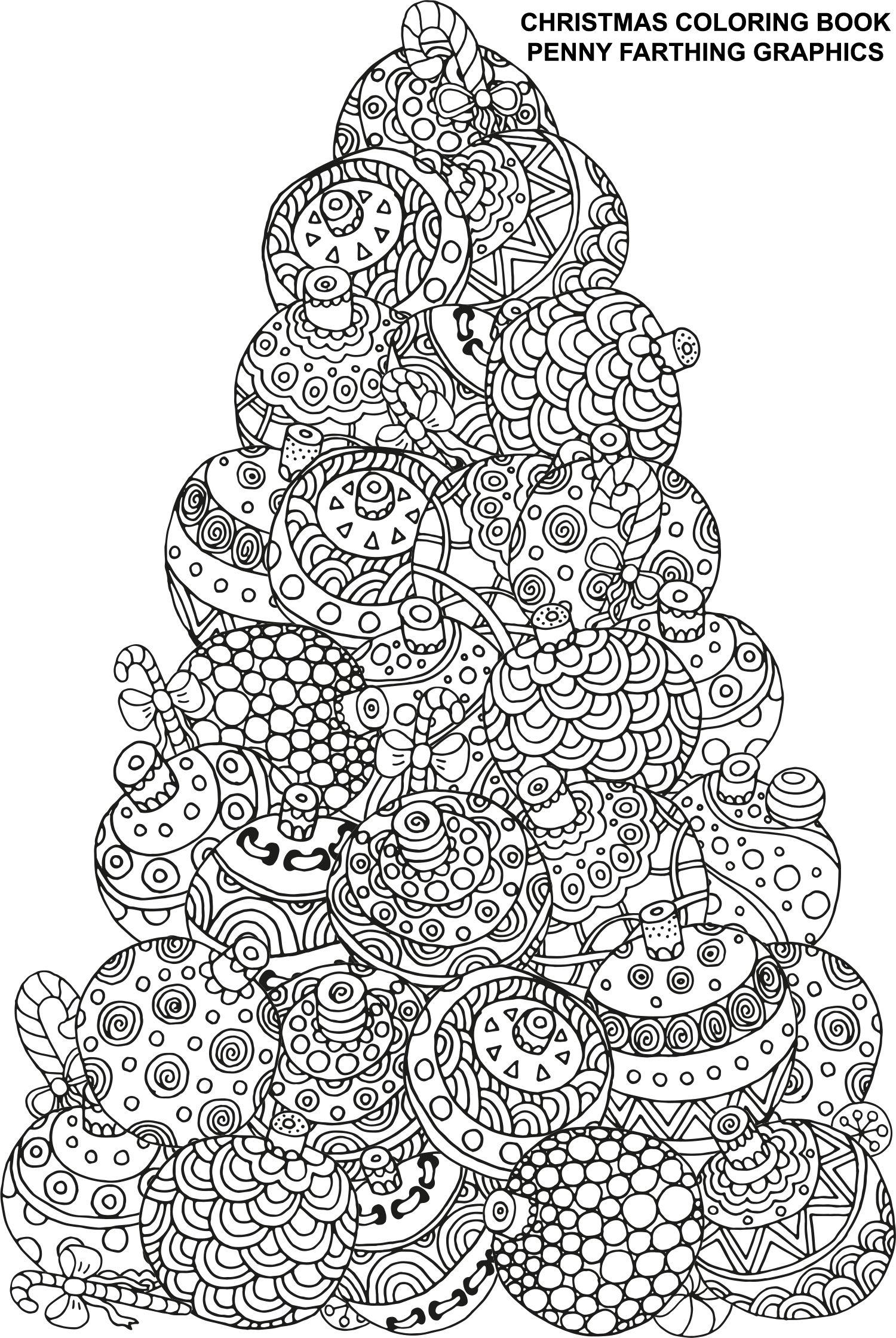 I love this ornament tree :) | Ausmalbilder Erwachsene | Pinterest ...
