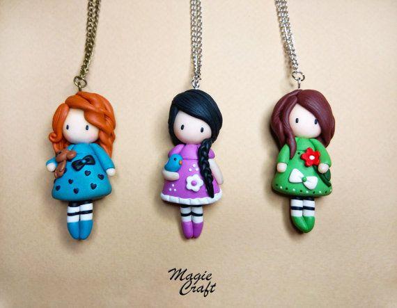 Doll Necklace Polymer Clay por MagieCraft en Etsy