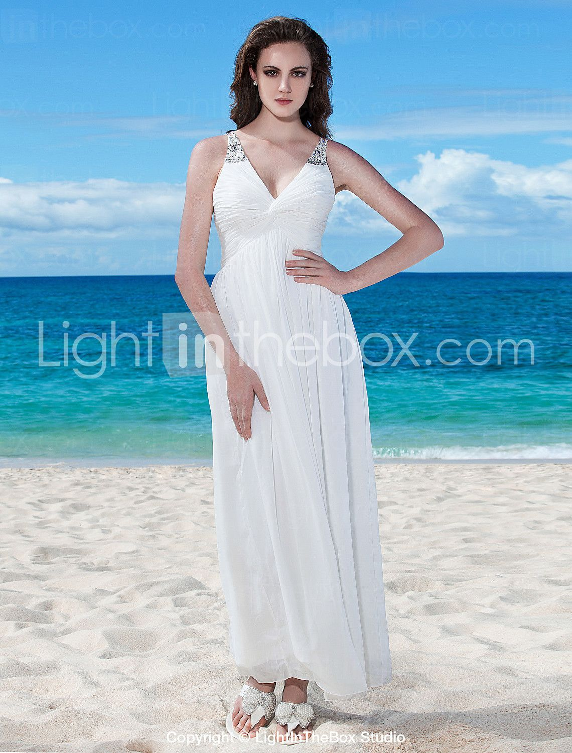 A-Line V Neck Floor Length Chiffon Custom Wedding Dresses with ...