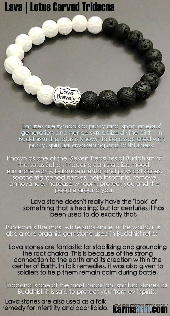 Bracelets Reiki Healing Yoga Jewelry Love Bravely Lava