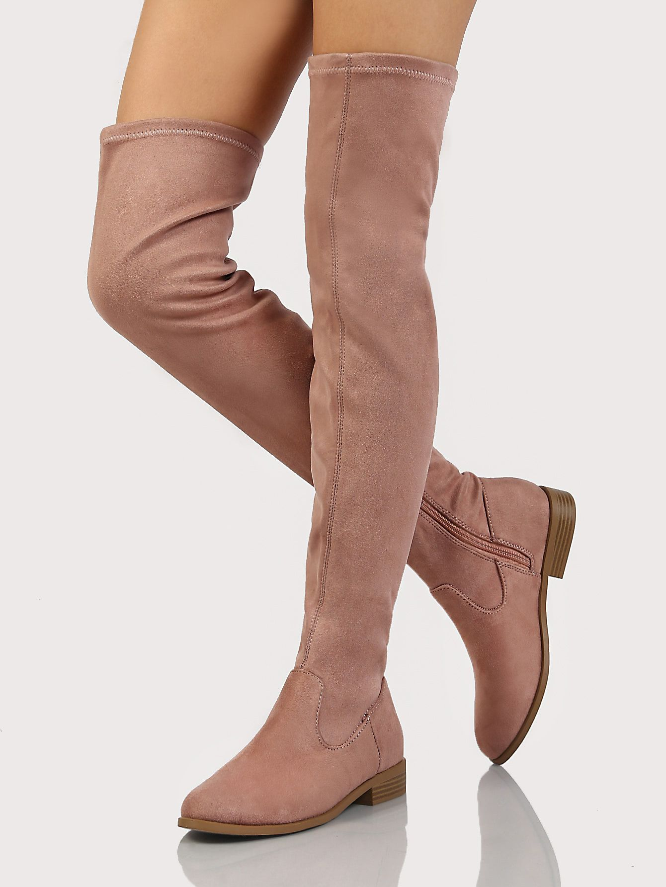 29ca8bdd42 Single Stitch Low Heel Thigh High Boots DARK BLUSH | MakeMeChic.COM ...