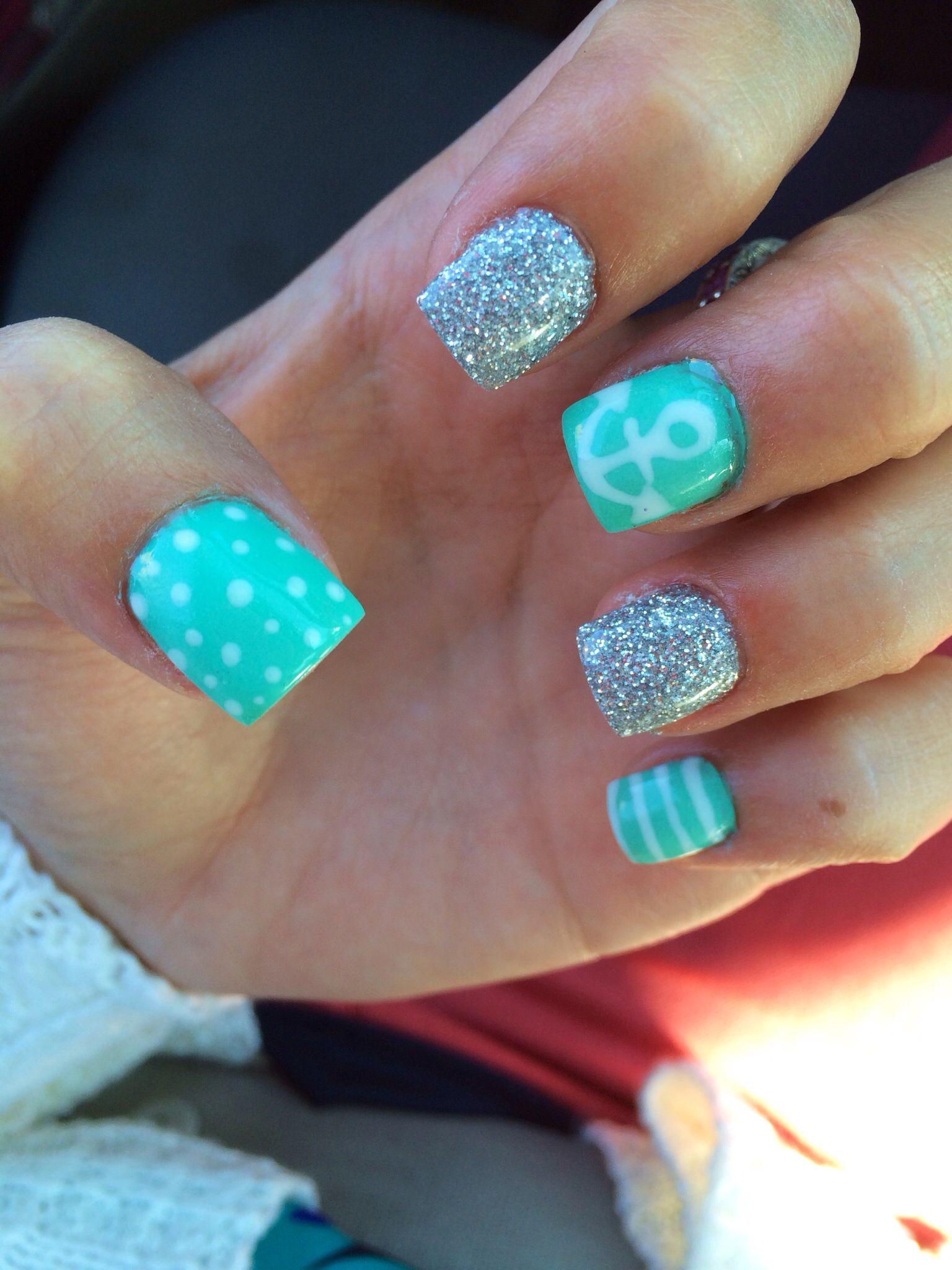 Cute teal anchor gel nails gel nails cute nails pinterest