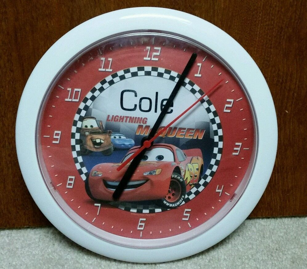 """Personalized Lightning McQueen 8"""" Wall Clock """"Cole"""" Boys Room Decor Disney Cars in Home & Garden, Kids & Teens at Home, Bedroom, Playroom & Dorm Décor 