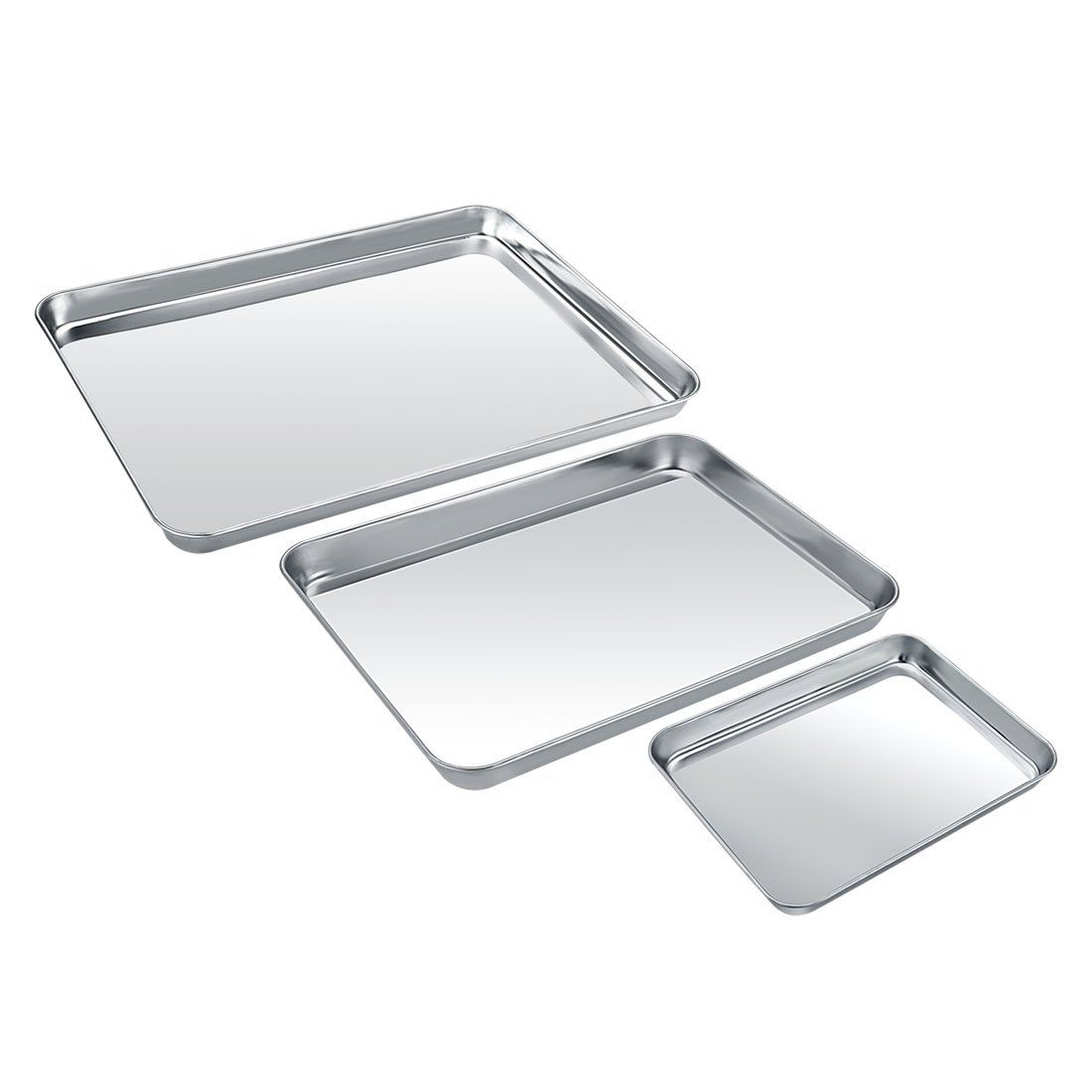 Baking Sheet Set Of 3 Zacfton Stainless Steel Cookie Sheet Set 3 Pieces Toaster Oven Tray Pan Rect Stainless Steel Cookie Sheet Bakeware Set How To Clean Rust