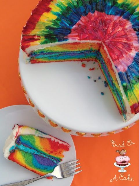 oh my! tie dye rainbow cake. perfect for a Pride party!