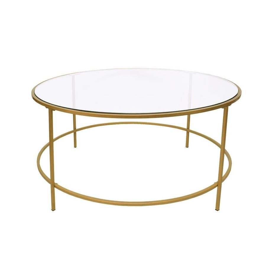 Benzara Clear Glass Coffee Table Lowes Com Coffee Table Metal Frame Round Glass Coffee Table Metal Coffee Table [ 900 x 900 Pixel ]