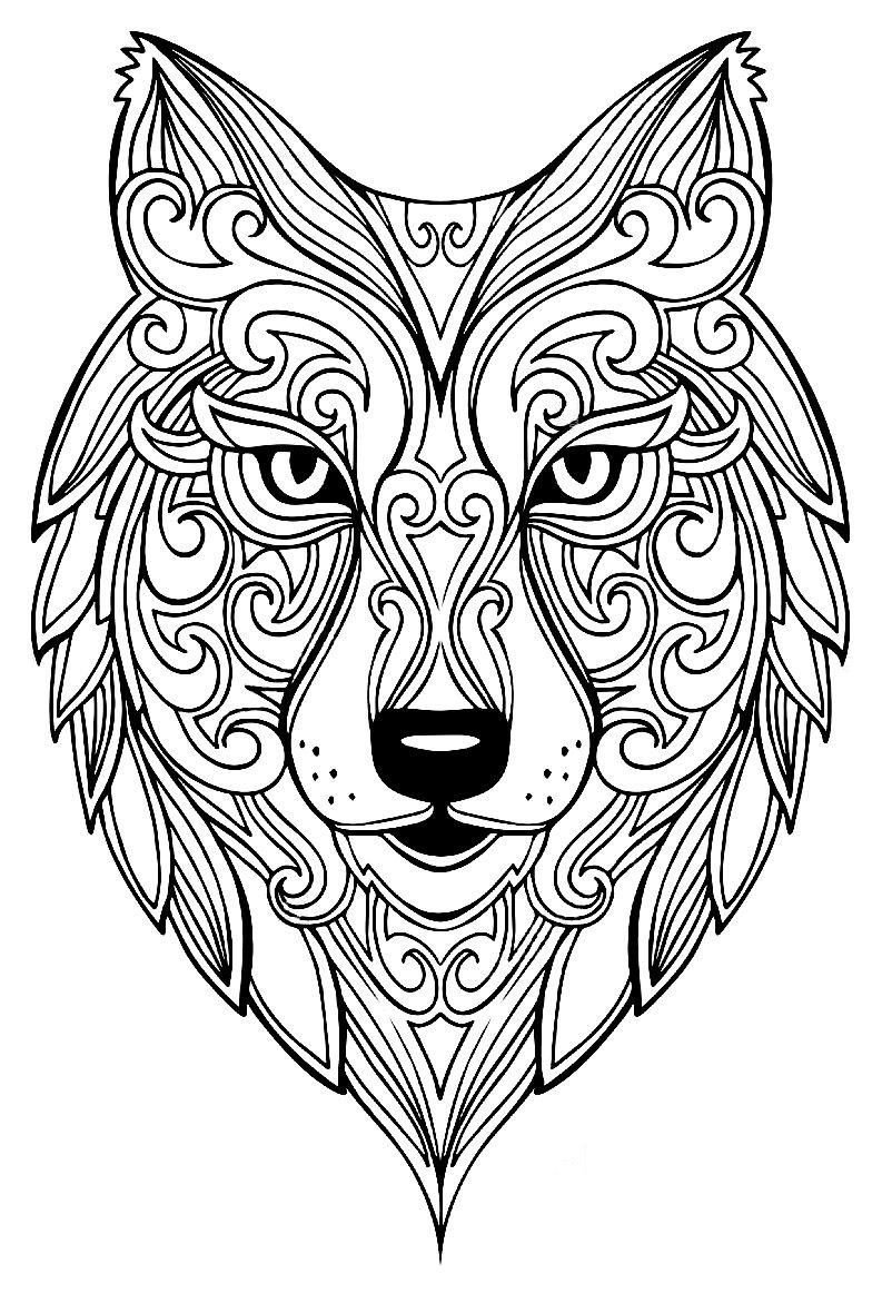 Grand Loup Coloriages D Animaux 100 Mandalas Zen Anti
