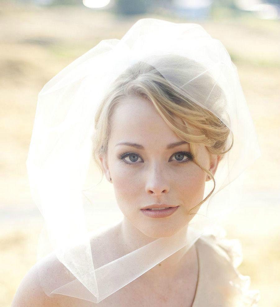 Simple White/Ivory Wedding Veils Blusher Tulle Beads Handmade Bridal ...