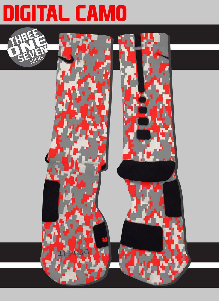 digital camo custom nike elite socks red gray and