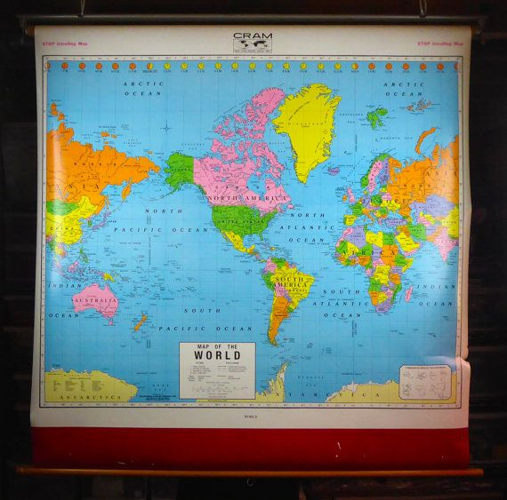 Vintage pull down school map world map cram hanging vintage pull down school map world map cram hanging classroom education gumiabroncs Images
