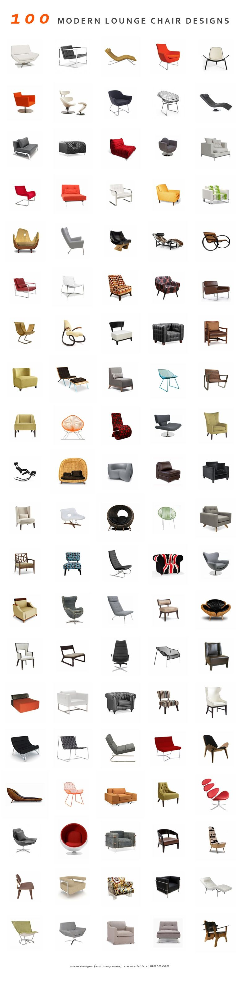 100 Modern Lounge Chairs (and many more) at Inmod.