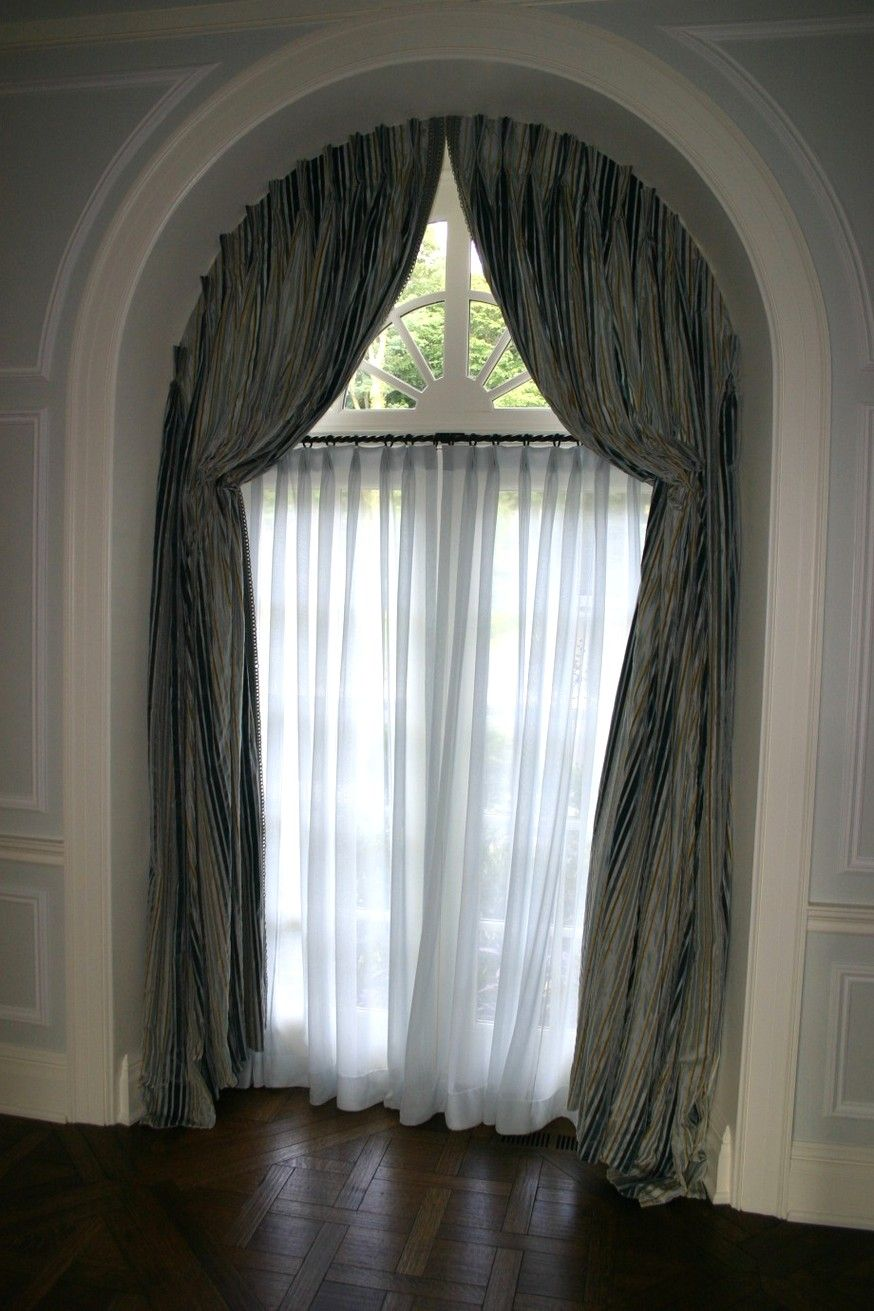 Arched window treatments glamorous curtains for high for Window treatment for oval window
