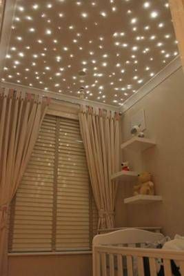 Stars twinkle on the ceiling of this baby nursery putting a twist picture soft dreamy twinkling star nursery ceiling lights that fill your babys moon and stars nursery theme or any room in your home with lighting mozeypictures Gallery