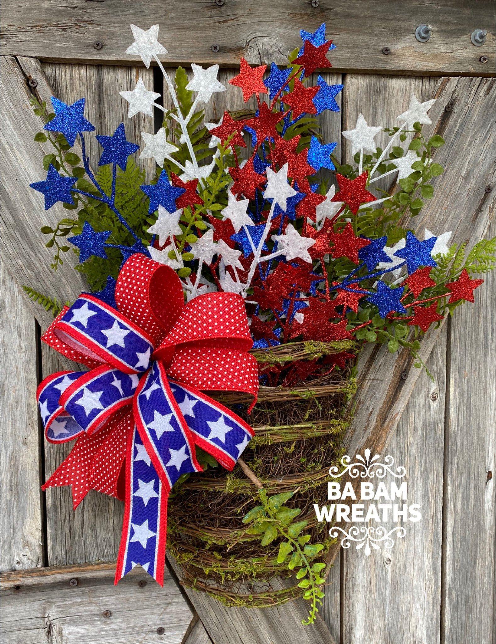 Photo of Patriotic Wreath for Front Door – Summer Wreath – Front Door Wreaths