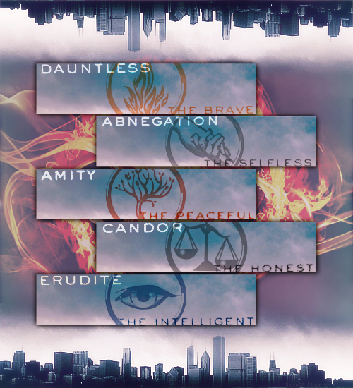 Divergent Series by Veronica Roth. The Five Factions. Dauntless. Abnegation. Amity. Candor. Erudite.