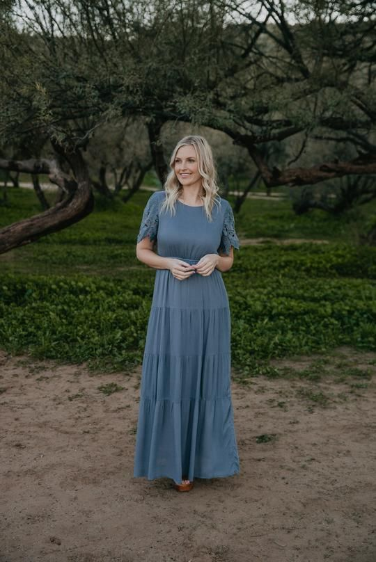 Photo of The Sansa Lace Sleeve Maxi in Slate (Sizes S-2X)