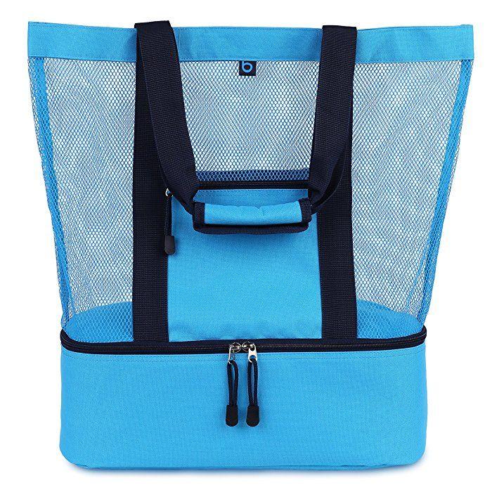 07ae64396d44 MALIBU Beach Bag - 2 in 1 Mesh Beach Tote Bag with Cooler + Free ...